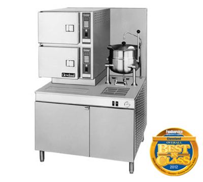 Cleveland 42CKGM200 NG 2-Compartment Convection Steamer w/ (1) 6-Gallon Tilt Kettle, NG