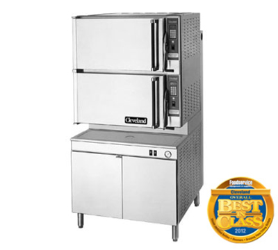 Cleveland 36PCGM300 NG 2-Compartment Dual-Pressure Convection Steamer w/ 36-in Base, 8-Pan, NG