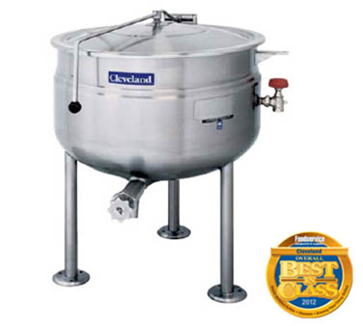 Cleveland KDL-125-F 125-Gallon Full Direct Steam Kettle w/ Open Tri-Leg Base, 35 PSI