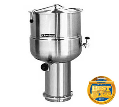 Cleveland KDP-100 100-Gallon Direct Steam Kettle w/ Pedestal Base, 2/3