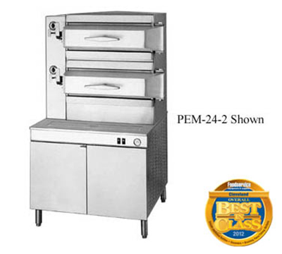 "Cleveland PEM243 3-Compartment Pressure Steamer w/ 36"" Cabinet Base, Manual, 208/3v"