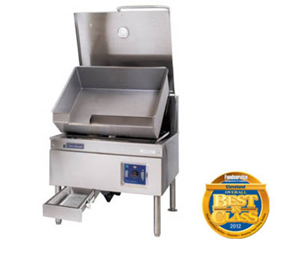 Cleveland SEM40TR3803 40-Gallon Tilt Skillet w/ Enclosed Cabinet Base, Open Leg, Export 380V