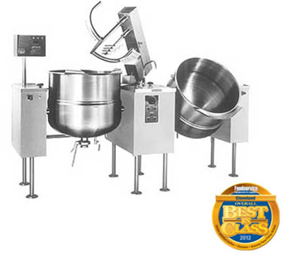 Cleveland TMKDL-150-T3803 150-gal Direct Twin Unit Tilt Kettle Mixer w/ Sweep & Fold Agitator, Export