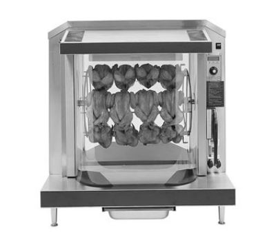 Giles RT-5-B 2401 Chicken Rotisserie w/ 5-Teflon Baskets, Curved Glass Front & Rear, 240/1