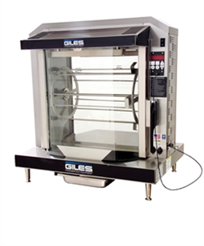 Giles RT-5-S 2401 Chicken Rotisserie, Curved Glass Front & Rear, 5 Spits, 240/1 V