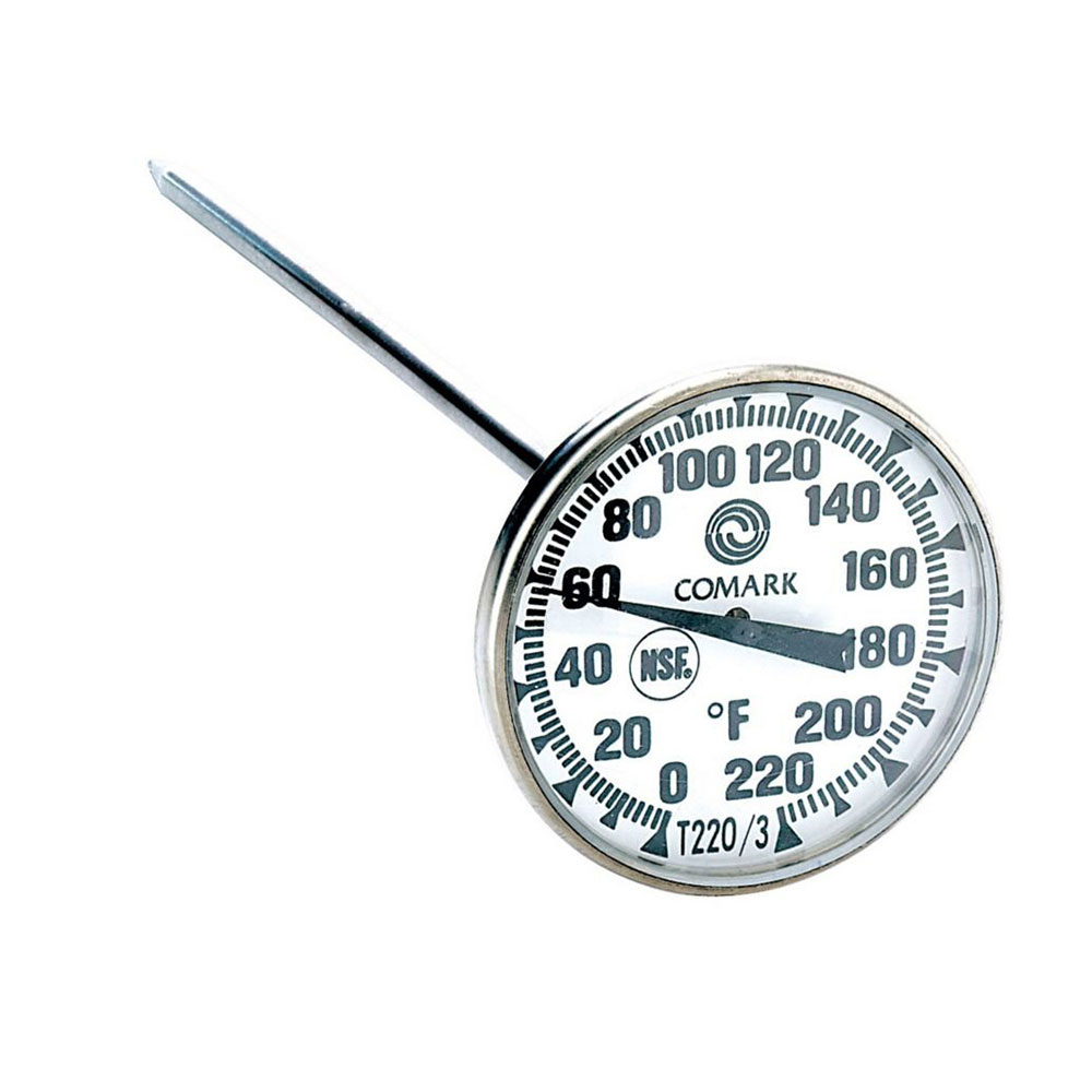 Comark T220/3 Pocket Thermometer, 1-3/4 in Dial, 5 in, SS, Watertight, 0 to 220 F