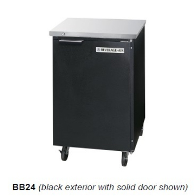 Beverage Air BB24-1-B 24-in Refrigerated Backbar Storage Cabinet, 1-Solid Door, 1/2-Barrell Keg, Black