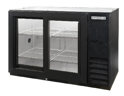 Beverage Air BB48GSY-1-B-27 Backbar Storage Cabinet w/ 2-Slide Glass Doors, (2)1/2-Keg, 48 x 36-in H, Black