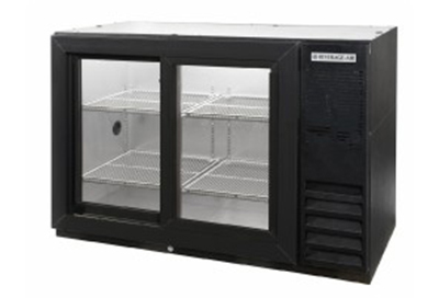Beverage Air BB48GSY-1-B-27PT 48-in Pass-Thru Backbar Storage Cabinet w/ 2-Sliding Glass Door, 36-in H, Black/Stainless