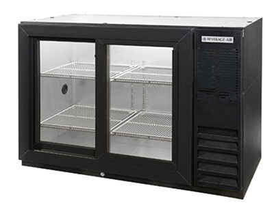 "Beverage Air BB48GSY-1-B 48"" Bar Refrigerator w/ (2) Section - (2) Glass Sliding Doors, 115v"