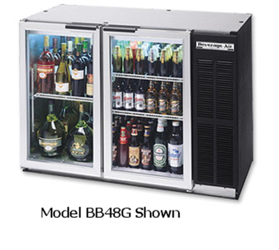 Beverage Air BB48RG-1-B-27 48-in Remote Backbar Storage Cabinet w/ 2-Glass Doors, 36-in H, Black