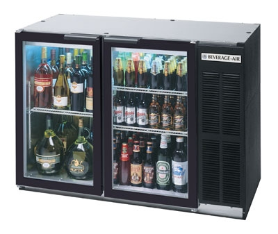 Beverage Air BB48GY-1-B 48-in Refrigerated Backbar Storage Cabinet w/ 2-Glass Doors, 34-in H, Black/Galvanized