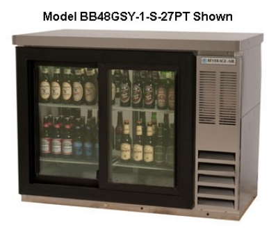 "Beverage Air BB48GY-1-S 48"" Bar Refrigerator w/ (2) Section - (2) Glass Swinging Doors, 115v"