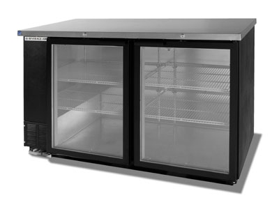 Beverage Air BB58G-1-B 58-in Refrigerated Backbar Storage Cabinet w/ 2-Glass Doors, 37-in H, Black/Stainless