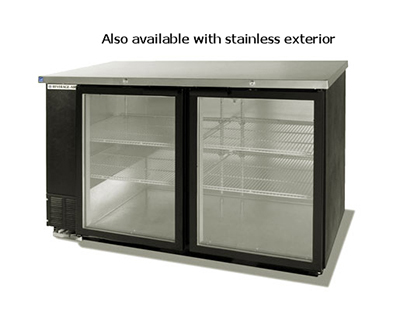 Beverage Air BB58GF-1-B 58-in Food Rated Backbar Storage Cabinet w/ 2-Glass Doors, Black