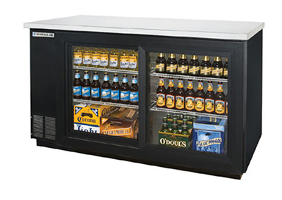 Beverage Air BB58GS-1-B 58-in Refrigerated Backbar Storage Cabinet w/ 2-Sliding Glass Doors, 37-in H, Black/Stainless
