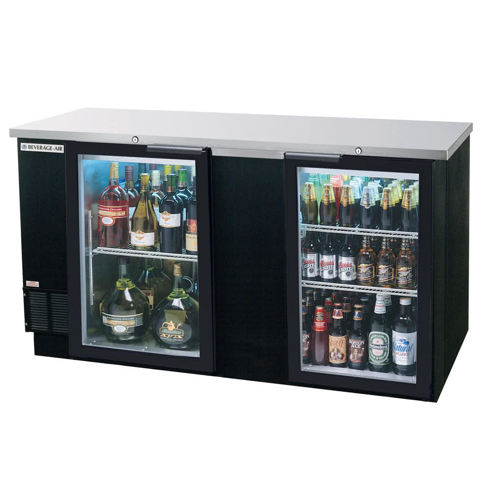 Beverage Air BB68G-1-B 68-in Refrigerated Backbar Storage Cabinet w/ 2-Glass Doors, 37-in H, Black/Stainless