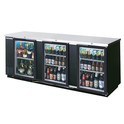"Beverage Air BB72GSY-1-B-27-PT 72"" Bar Refrigerator w/ (3) Section - (6) Glass Sliding Doors, 115v"