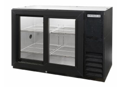 Beverage Air BB72GSYF-1-B-PT 72-in Food Rated Pass Thru Backbar Storage Cabinet w/ 6-Sliding Glass Door, 34-in H, Black/Galvanize