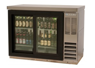 "Beverage Air BB72GSYF-1-S-27-PT 72"" Bar Refrigerator w/ (3) Section - (6) Glass Sliding Doors, 115v"