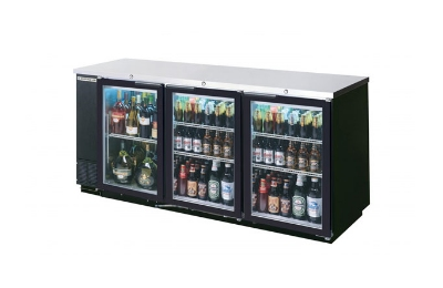 "Beverage Air BB72GY-1-B-27 72"" Bar Refrigerator w/ (3) Section - (3) Glass Swinging Doors, 115v"