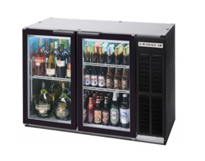 Beverage Air BB72GY-1-B-PT 72-in Refrigerated Pass Thru Backbar Storage Cabinet w/ 6-Glass Doors, 34-in H, Black/Galvanized