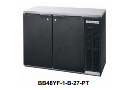 Beverage Air BB72YF-1-B-27-PT Refrigerated Backbar Pass Thru Storage Cabinet w/ 6-Solid Doors & 3-Sections, Black