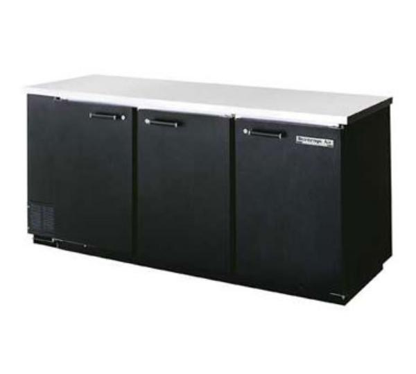 Beverage Air BB78-1-S 78-in Refrigerated Backbar Storage Cabinet w/ 3-Solid Doors, Black/Stainl