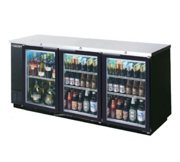 Beverage Air BB78G-1-B 78-in Refrigerated Backbar Storage Cabinet w/ 3-Glass Doors, 37.25-in H, Black/Stainless