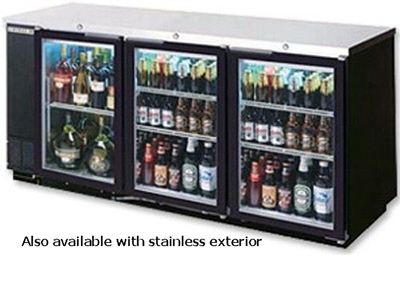 "Beverage Air BB78GF-1-S 79"" Bar Refrigerator w/ (3) Section - (3) Glass Swinging Doors, 115v"