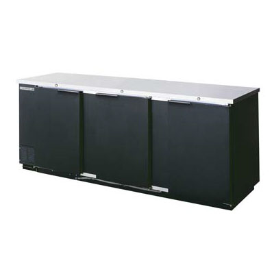 Beverage Air BB94-1-S 94-in Refrigerated Backbar Storage Cabinet w/ 3-Solid Doors, Black/Stainless