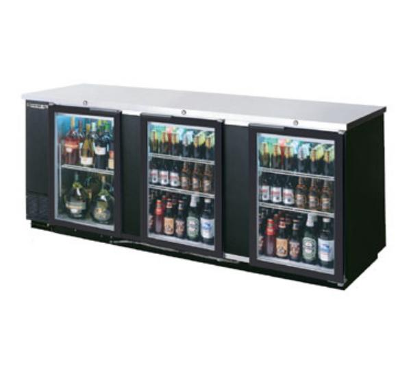 Beverage Air BB94G-1-S 94-in Refrigerated Backbar Storage Cabinet w/ 3-Glass Doors, 37-in H, Black/Stainless