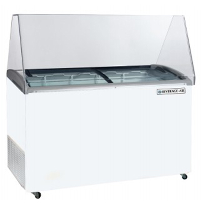 Beverage Air BDC-12 Dipping Cabinet Freezer w/ (12) Display and (10) Storage 3-gal Container Capacity, White