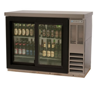 Beverage Air BB48GSY-1-S-27PT 48-in Pass-Thru Backbar Cabinet w/ 2-Sliding Glass Door, 36-in H, Stainless