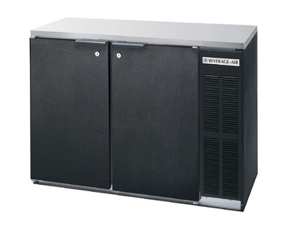 Beverage Air BB48Y-1-B-27 48-in Refrigerated Backbar Storage Cabinet w/ 2-Solid Doors, Black/Stainless