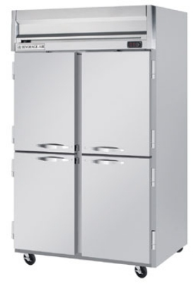 Beverage Air HRPS2-1HS Reach In Refrigerator, 4-Solid Half Doors, All Stainless, 49-cu ft