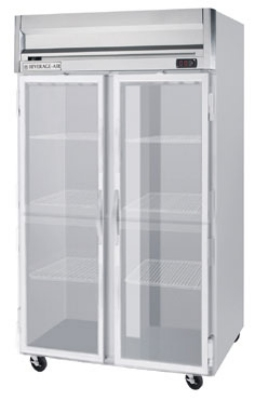 Beverage Air HR2-1G Refrigerator, 2-Glass Full Doors, Stainless Front & Aluminum Interior, 49-cu ft
