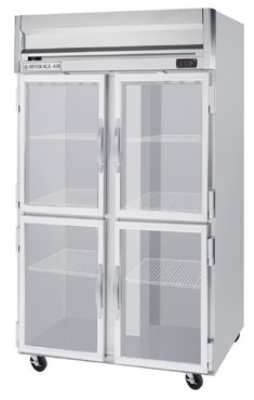 Beverage Air HRPS2-1HG Reach In Refrigerator, 4-Glass Half Doors, All Stainless, 49-cu ft