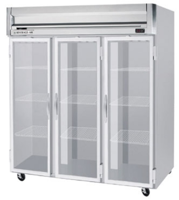 Beverage Air HF3-5G Freezer, 3-Glass Full Doors, Stainless Front & Aluminum Inte