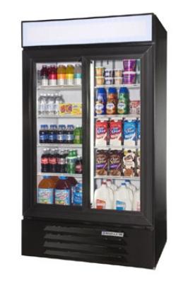 Beverage Air LV38-1-B-LED 2-Section Glass Door Merchandiser w/ LED Lighting, 38-cu ft, Black