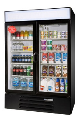 Beverage Air LV49-1-B-LED 2-Section Glass Door Merchandiser w/ LED Lighting, 49-cu ft, Black
