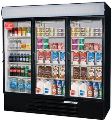 Beverage Air LV72Y-1-B-LED 3-Section Glass Door Merchandiser w/ LED Lighting, 72-cu ft, Black