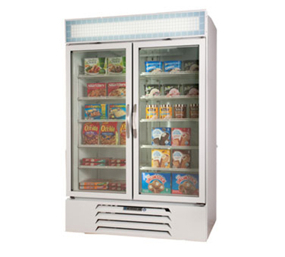 Beverage Air MMF49-1-W-LED Display Freezer Merchandiser, LED, 2-Self Closing Door, Digital, White, 49-cu ft