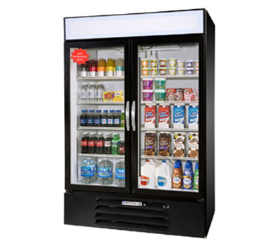 Beverage Air MMR49-1-W-LED Refrigerated Display Merchandiser w/ LED, 2-Door, Digital, White, 49-cu ft
