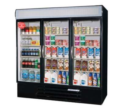 Beverage Air MMR72-1-B Refrigerated Display Merchandiser, 3-Self Closing Door, Digital, Black, 72-cu ft