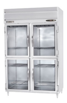 Beverage Air PRD2-1BHG 2-Section Pass-Thru Refrigerator w/ 8-Glass Half Doors, 49.
