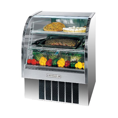 "Beverage Air CDR3/1-S-20 37"" Full Service Refrigerated Deli Case w/ Curved Glass - (3) Levels, 115v"