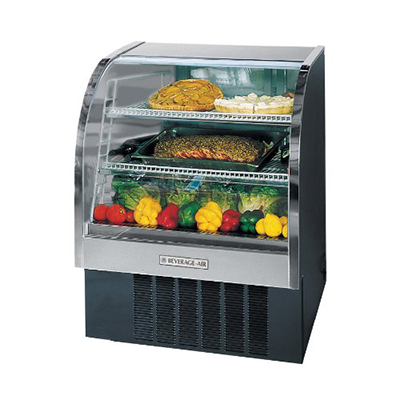 "Beverage Air CDR4/1-B-20 49"" Full Service Refrigerated Deli Case w/ Curved Glass - (3) Levels, 115v"