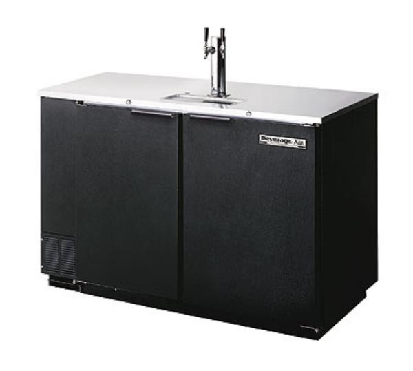 Beverage Air DD50C-1-B 2-Keg Club Type Draft Beer Cooler w/ 1-Dual Faucet Column, Black