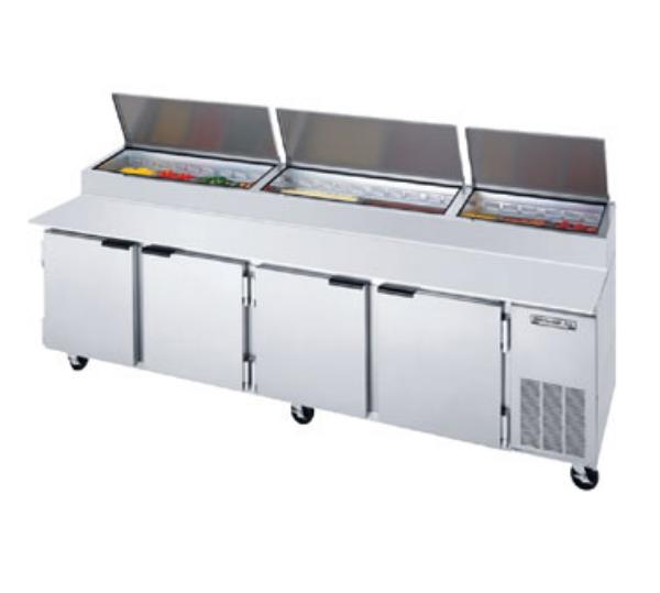 Beverage Air DP119 119 in Pizza Top Refrigerated Counter, 4 Section, 19 in Cutting Board
